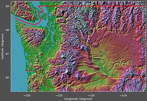 Washington state elevation image